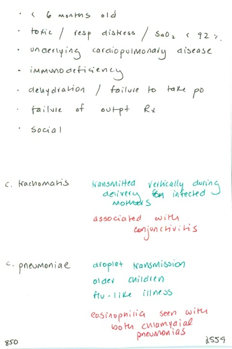 850. Pediatric pneumonia admission indications // Distinguish two etiologies of chlamydia pneumonia