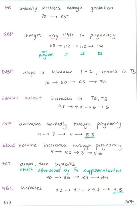 1113. Hemodynamic changes in pregnancy (3 trimesters): HR, SBP, DBP, CO, CVP, blood volume, HCT, WBC