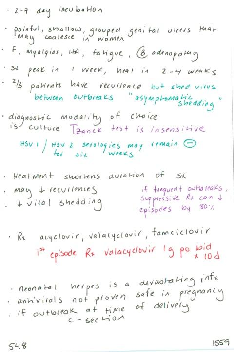 548  Herpes genitalis: incubation, description of lesions