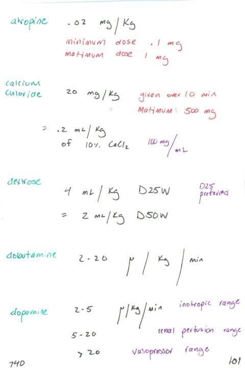740. Resus atropine dose, calcium chloride (CaCl2), dextrose ...