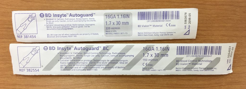 BC angiocath in package
